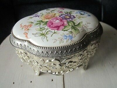 Vintage Silver Plated & Porcelain Plque Casket Jewellery Box Footed