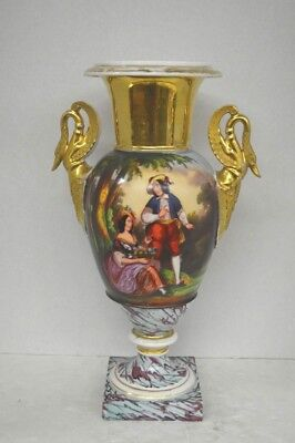 Large Antique Paris Porcelain Hand Painted Figures and Gilt Urn