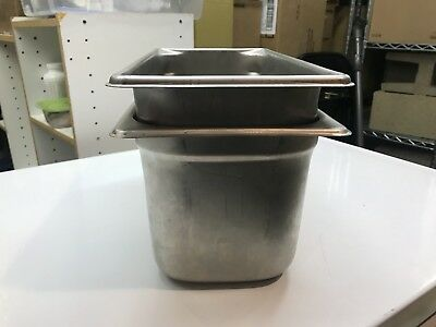 """Used Stainless Steel Steam Table Pan 1/3 Size 6"""" Deep"""