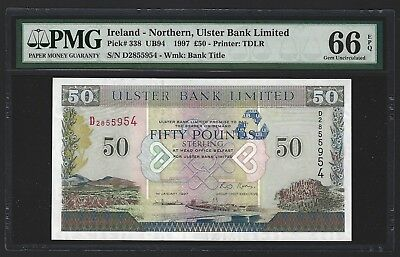 NORTHERN IRELAND Ulster Bank 1997 50 Pounds P-338, PMG 66 EPQ GEM UNC, RARE