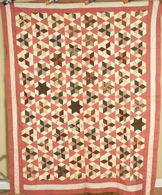 ELEGANT Vintage 1870's Stars Antique Quilt Top ~HANDSOME EARLY FABRICS!