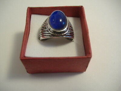 Vintage Style Silver Tone Oval Mood Ring Size 9 Solid Bnd.