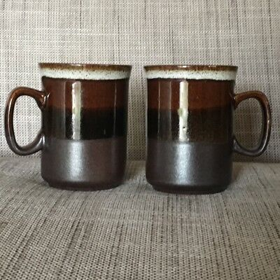 2 Dunoon Pottery Vintage Stoneware Coffee Mugs 1980's Retro - Superb AS NEW