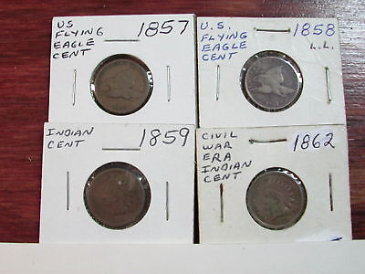 1857, 1858 Flying Eagle Cents & 1859, 1862 Indian Cents - 4 Coins Total