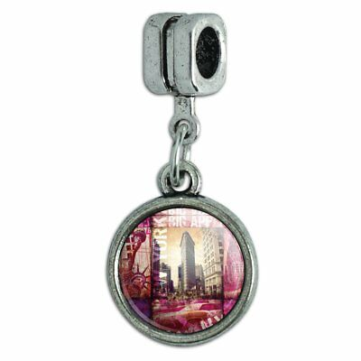 New York City Big Apple Art Collage Italian European Style Bracelet Charm Bead