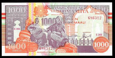 World Paper Money - Somalia 1000 Shillin Shillings 1990  PR10 @ UNC