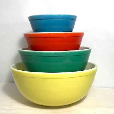 Vintage Pyrex Primary Colors Nesting Mixing Bowls Numbered 401 402 403 404