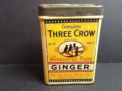Three Crow Ginger Tin, Atlantic Spice, Rockland, Maine. 1.5 oz.