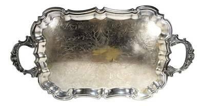 VINTAGE Silverplate Footed Butler's Serving Tray Large Ornate Engravings Handles