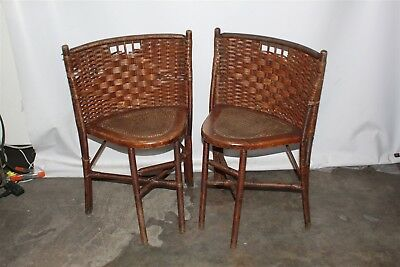 Pair of Antique Heywood Wakefield Wooden Cain Corner Chairs Local Pickup Only