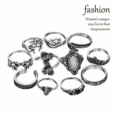 11 Pcs/Set Women Rings Starry Artificial Gemstone Retro Elephent Leaf Ring KitNZ