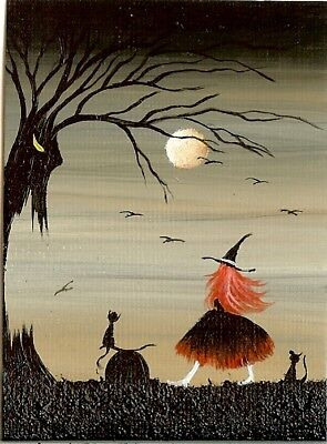 ACEO Original Spooky Forest Fantasy Art Witch Black Cats Cauldron Ravens HYMES