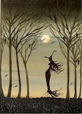 ACEO Original Fantasy Witch Forest Full Moon Mystical Collectible Art By HYMES