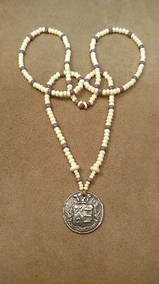 Pewter Crest Button Pendant & Beaded Necklace, Eastern Woodlands, Longhunter
