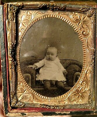 Antique Tintype of an Infant Baby Toddler Child set in Half case