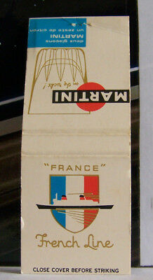 Rare Vintage Matchbook Cover E1 French France Martini Rocks Boat Ship Cruise Lin