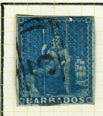 BARBADOS; 1852 early classic Imperf QV issue fine used value