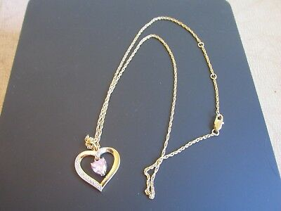 Name Engraved DONNA Rose Color Crystal Heart & Diamond Pendant Necklace NIP