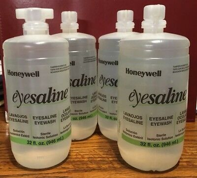 4x Refill Honeywell Eyesaline Eye Wash Bottle / 32 oz.  / Refill Single Station