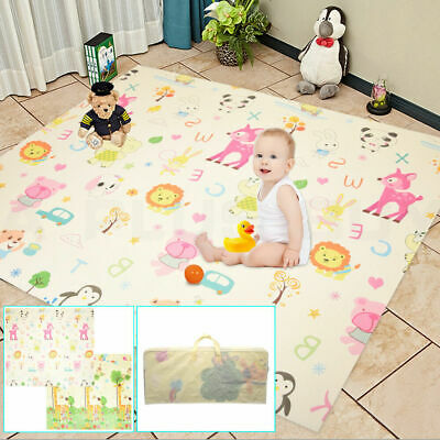 2x1.8m Folding Baby Play Mat Reversible XPE Floor Playmat Toddlers Waterproof #1