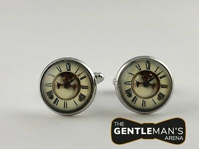 Antique clock cufflinks in silver with antique clock face