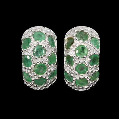 Unheated Round Cut 3 Mm Top Rich Green Emerald 925 Sterling Silver Earrings
