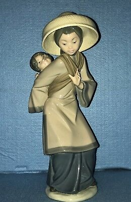 "Lladro Figurine #5123 ""MY PRECIOUS BUNDLE"" Asian Mother & Child EXC"