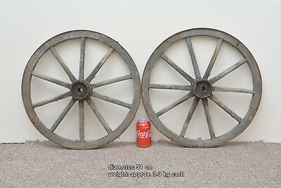 2x vintage old wooden cart wagon wheels wheel - 51 cm - FREE DELIVERY