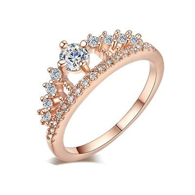 Elegant Women Princess Crown Rings Zircon Wedding Engagement Finger Rings NZ