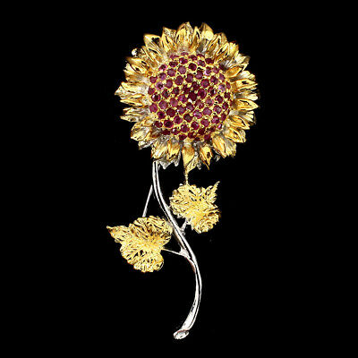 Gorgeous Round Cut 2mm Top Rich Red Ruby 925 Sterling Silver Sunflower Brooch