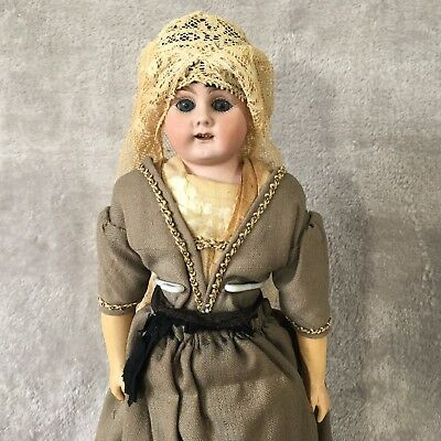 """14-1/2"""" Bahr & Proschild Mold # 309.4 Dome Shoulder Head Doll With Wooden Clogs"""