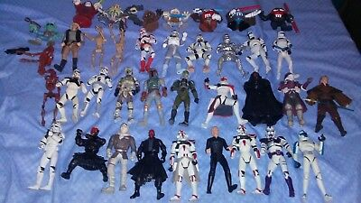 Huge Lot of 37 Vintage 1990s Star Wars Action Figures Rare Complete Collection