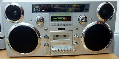 GPO Brooklyn Portable 1980S Retro Style Music System Bluetooth/CD/Cassette/DAB