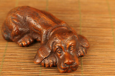 Chinese old boxwood hand carved dog statue netsuke collectable figure