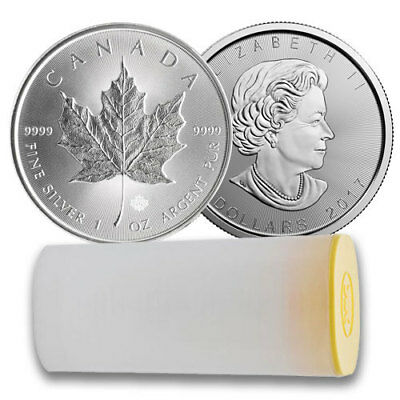 50x 2017 Royal Canadian Mint 1 oz Silver Maple Leaf Coin - Two Full Mint Tubes