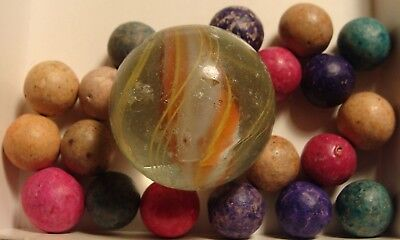 20 Antique Vintage Marbles Germany Glass Solid Core Swirl Clay Red Blue Pretty