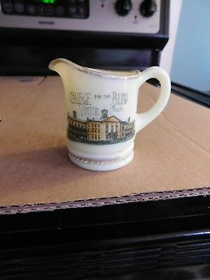 Antique Custard Glass Pitcher Vinton Iowa College For The Blind