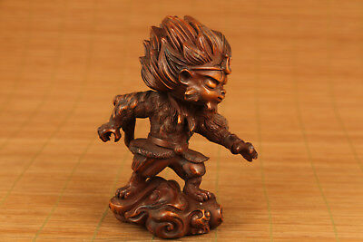 chinese old boxwood hand carved monkey king statue  netsuke collectable