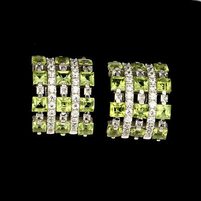 Deluxe Square 3mm Top Rich Green Peridot White Cz 925 Sterling Silver Earrings