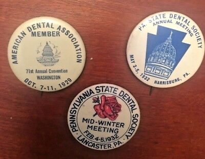 LOT OF 3 '29, '32,'32 PA State Dental Society Annual & Mid Winter Meeetings Pins