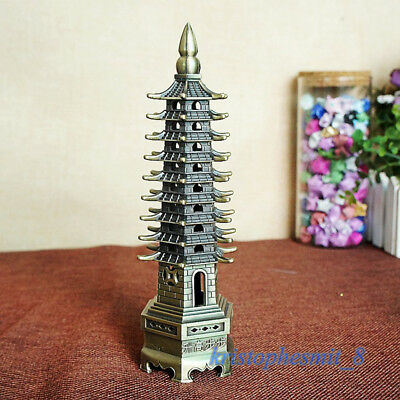 Antique Chinese Statues Figurines 9 Floor Wen Chang Buddha Tower Stupa Bronze