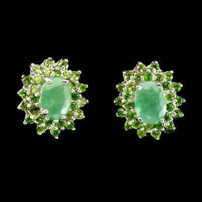 Gorgeous Oval Cut 7x5mm Emerald Chrome Diopside 925 Sterling Silver Earrings