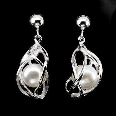 Deluxe Round Button 9.5mm Creamy White Pearl 925 Sterling Silver Earrings