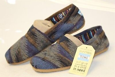 TOMS Mens NEW 11 Classic Blue Tan Woven Textile Loafer Slipper Shoes 10002758 pt