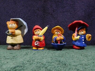 4 Vintage Enesco Lucy & Me Bears in Rain Gear w/ Umbrellas