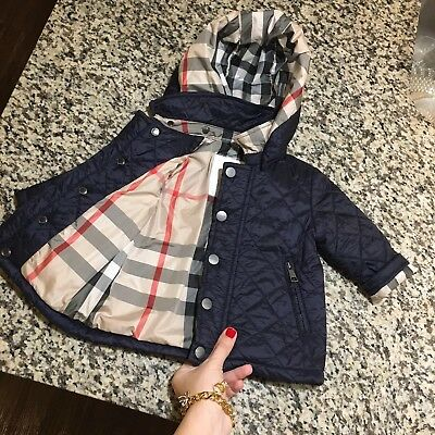 9223266a398f 3-6 Months Authentic Burberry Baby Boys Quilted Jacket Coat Hooded Navy Blue