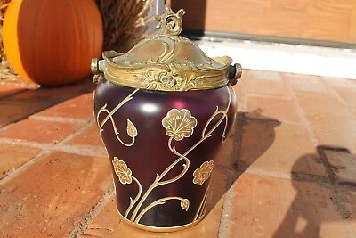 Antique RARE Art Nouveau Amethyst Glass Biscuit Barrel with Rococo Brass Bale