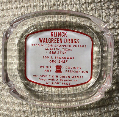 Vintage Walgreens Ashtray Pharmacy Drug Store McALLEN TEXAS Gives Green Stamps