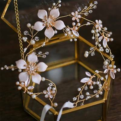 Chic Wedding Headband Bridal Headpieces Long Pearls Flower Gold Hair Accessories