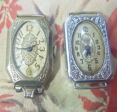 INTRIGUING Group Lot- TWO 1920s Ladies Art Deco Wrists- Waltham 14K WGF Brunvil